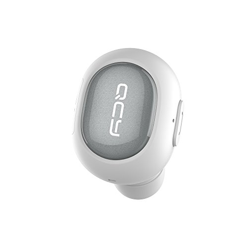 [Mini Bluetooth Earbud] QCY Wireless Invisible Headphones Headset with Mic, Hands-Free Stereo Noise canceling for Apple iPhone 7, 7 Plus, 6 Plus, 5S, 4S, and Android Phones - White