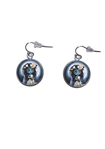 Edelstahl hängende Ohrringe, Durchmesser 20mm, handgemacht, Illustration Corpse Bride Doll