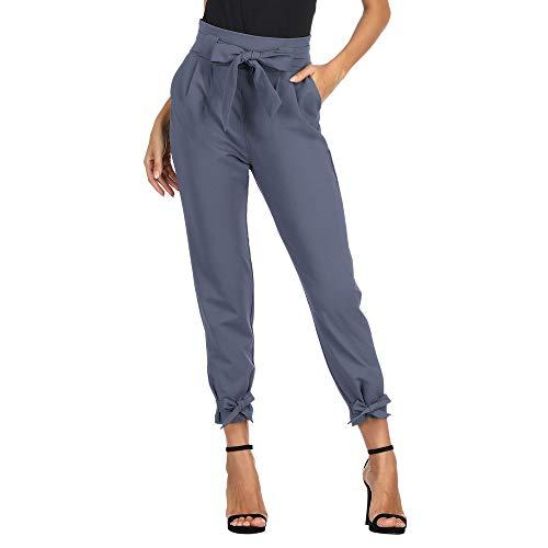GRACE KARIN Pantalones Segaretta de Cintura Alta de Mujer Elegante Decorados con Un Lazo Azul Claro L Cl10903-1