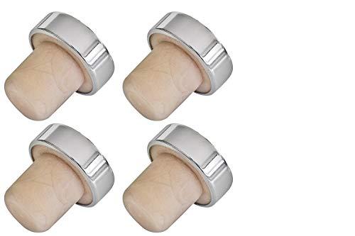 FMprofessional Weinflaschenverschluss, Sektverschluss aus Kunststoff, Flaschenverschluss in zeitlosem Design (Farbe: Beige/Silber), Menge: 4 Stück
