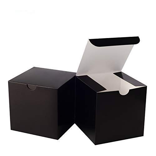 Giftol Small Black Gift Box 50 Pack 4 x 4 x 4 inches Fold Box Easy Assemble Paper Gift Box Bridesmaids Proposal Box for Bridal Birthday Party Christmas(Black)