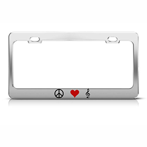 Speedy Pros Metal License Plate Frame Peace Love Music Style B Car Accessories Chrome 2 Holes