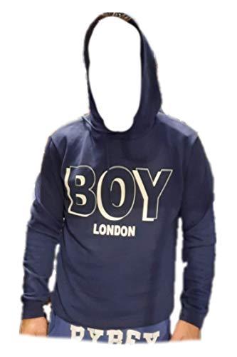 BOY LONDON Tg.M Felpa con Cappuccio Blu e Stampa Centrale Bianca