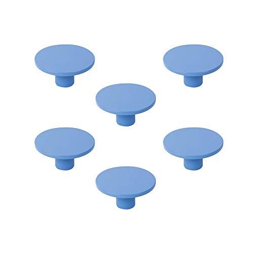 POMOLINE 6 Un. Tirador Pomo Mueble Infantil Resina ABS Pintado Azul - Diámetro 60MM