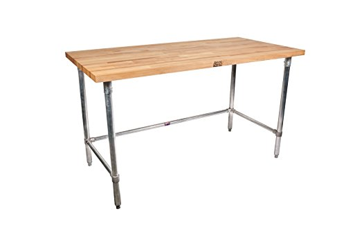 John Boos SNB12 Maple Top Bakers Table with Stainless Steel Base and Bracing, 120″ x 30″ x 1-3/4″