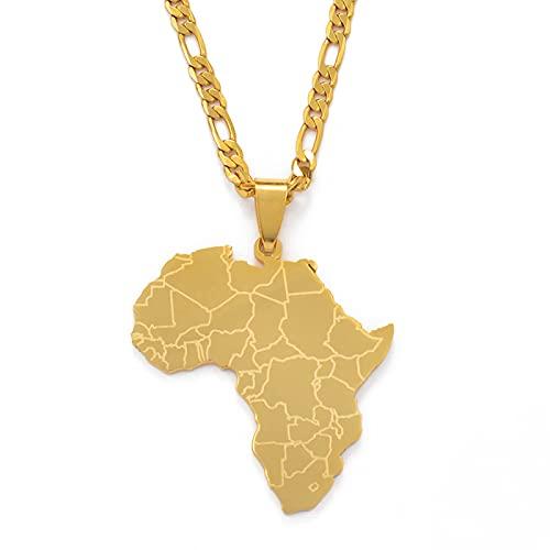 YUANYIRAN Mappa delle Collane di Pendenti Africani - Fascino Etnico Patriottico Africa Mappa Collana Bandiera, Oro Colore Classico Hip Hop Gioielli per Donna Uomo Trend Party Regalo, Oro, 60Cm