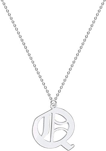 Ahuyongqing Co.,ltd Necklace Necklace A - Z Initial Letter Women Men Necklace Stainless Steel Metal Vintage Jewelry Chain Choker Pendant Necklace