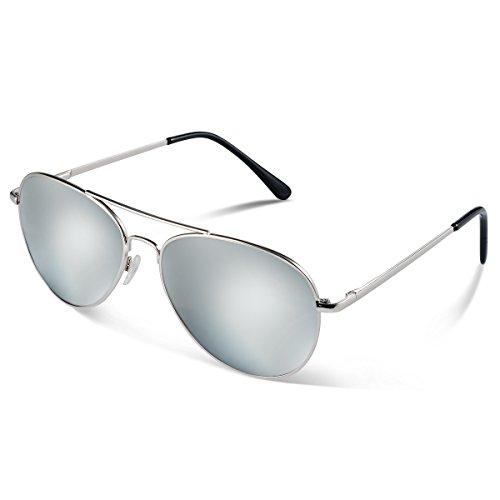Duduma Premium Full Mirrored Aviator Sunglasses w/ Flash Mirror Lens Uv400 (Silver frame/Silver mirror lens)