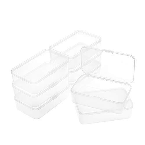BENECREAT 8 Pack Cajas Rectangulares de Plástico Transparente 11.8x7.2x3.5cm para Almacenamiento de Cuentas con Tapa para Alfileres, Monedas, Cuentas Pequeñas,y Otros Artículos Pequeños