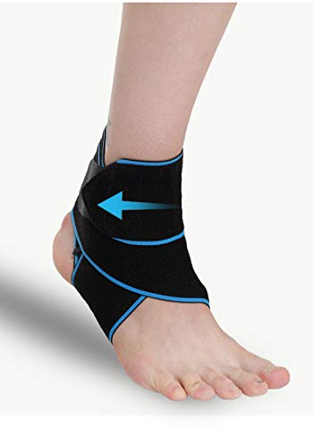 Ankle Brace for Men and Women, Compression Ankle Support Wrap, Ankle Sleeve for Plantar Fasciitis, Running, Basketball, Achilles Tendon, Minor Sprains, Sports, Breathable, Adjustable Foot Brace (blue)