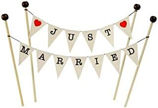 amazing buntings, Just Married Cake Topper Bunting Decoration in Cream, Red hearts, Large Flags, Adjustable Length