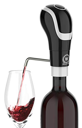 WAERATOR Instant 1-Button Electric Aeration and Decanter Wine Pourers, Portable, Black