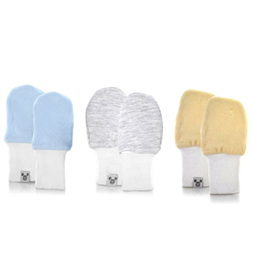 Crummy Bunny Baby Mittens - Fits Babies Age 3 to 6 Months, Over-Sized Blue, Grey and White, 3 Pairs