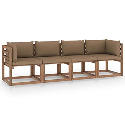 Susany Sofá de palets jardín 4 plazas y Cojines Gris Taupe Sofa de Palets Interior/Exterior Sillon Palets/Sofa para Patio Madera Pino impregnada