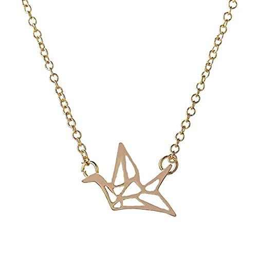 N/A Collar Colgante de Regalo de joyería Colgante de Collares de grúa de Origami Plateado para Mujer Collares de Cadena de Cobre de pájaro Lindo Simple Collares de Pareja