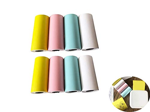 YYAOO Papel de impresión térmica de color 8 piezas Papel de impresión de recibos de factura Papel térmico directo para impresora móvil inalámbrica POS Máquina imprimible Papel térmico directo