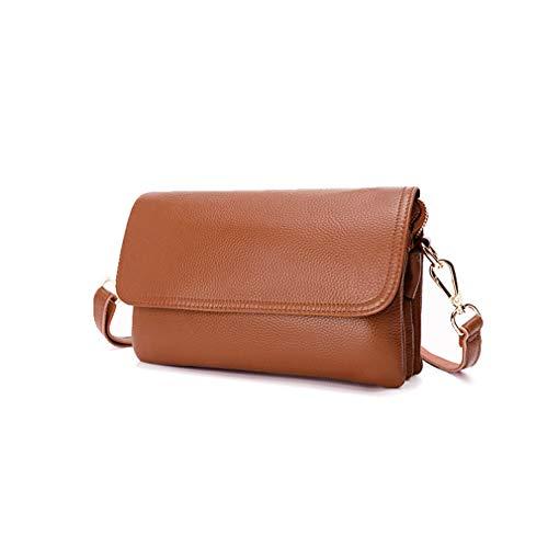 BCAJFL Aktentasche für Frauen Tasche für Umhängetaschen Leder Schulranzen Geldbörse,Brown
