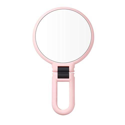 LIHY- Miroir cosmétique à double face Loupe à visage double 10X comprimant la tête noire, artefact, beauté, outil de suppression de l'acné (Couleur : Pink)