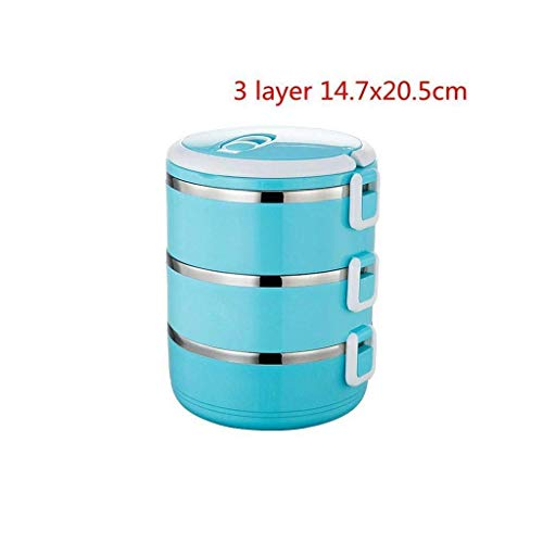 Nfudishpu Edelstahl-Wärmeschutz-Brotdose , Bento-Box für Erwachsene , Lebensmittelbehälter für Kinder Tragbare Picknickschule (Farbe: 3 Schichten grün) (Farbe: 3 Schichten blau)