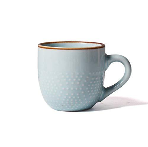 Taza De Porcelana Moderna En Relieve De Color Liso Taza De Café Taza De Leche Taza De Desayuno Taza De Café Creativa Simple Taza De Cerámica En Relieve Con Asa Punto De Onda Azul Claro