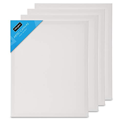 Fineway Pack of 4 Large Artist Blank White Stretched Canvas Size 15.7' X 19.7' (40cm X 50cm) - Ideal For Painting And Decorating.