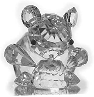 ASFOUR CRYSTAL 1000-30 1.77 L x 1.49 H in. Crystal Bear and Honey Pot Animals Figurines