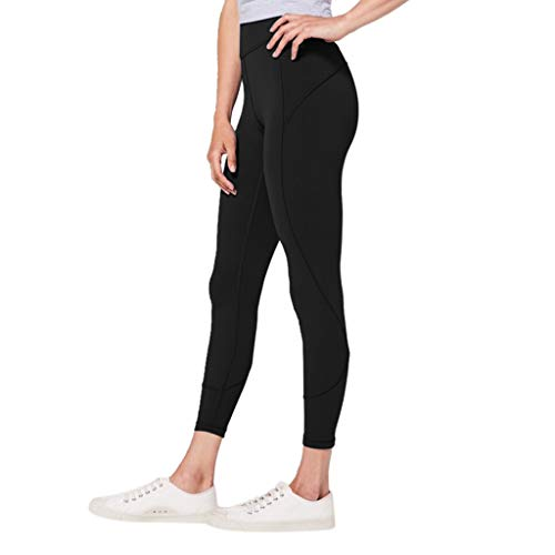 WOZOW Damen Leggings Gamaschen Solid Basic Dünn Skinny Stretch Trousers High Waist Sweathose Casual Workout Jogginghose Sport Hose Yoga Stoffhose (S,Schwarz)
