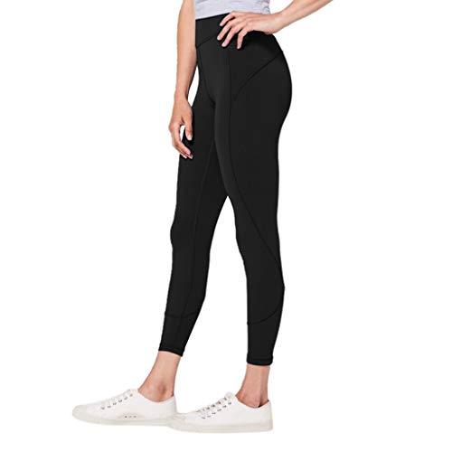 WOZOW Damen Leggings Gamaschen Solid Basic Dünn Skinny Stretch Trousers High Waist Sweathose Casual Workout Jogginghose Sport Hose Yoga Stoffhose (S,Schwarz)