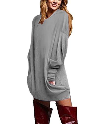 ZANZEA Donna Felpa Lungo con Cappuccio Pullover Maglia Scollo V Manica Lunga Camicetta Sweater Autunno Inverno Partito 03-con Cappuccio Grigio XL
