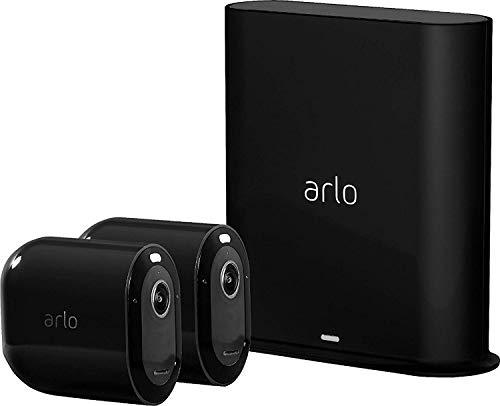 Arlo Pro3 Smart Home 2 kabellose 2K-HDR Überwachungskameras & Alarmanlage, Innen/Außen, Farbnachtsicht, 160 Grad Blickwinkel, WLAN, 2-Wege Audio, Spotlight, Bewegungsmelder, (VMS4240B) - Schwarz