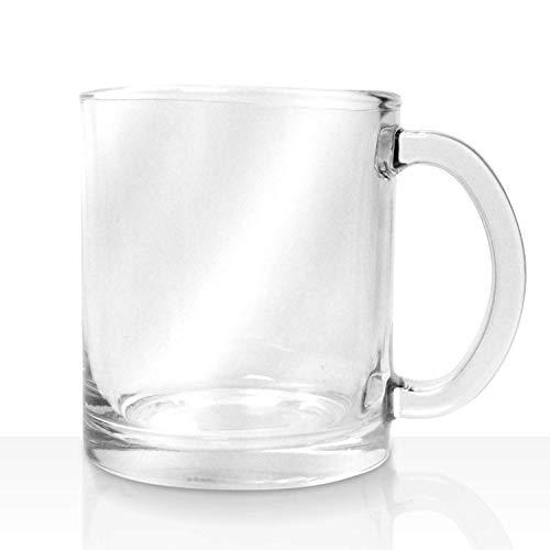 Vikko 10.75 Ounce Glas Kaffeetassen - dick und langlebig - für Kaffee, Tee, Cidre etc. - Mikrowellen- und spülmaschinenfest - 6er Set Klarglas Becher - 8,4 cm Durchmesser x 9,9 cm hoch