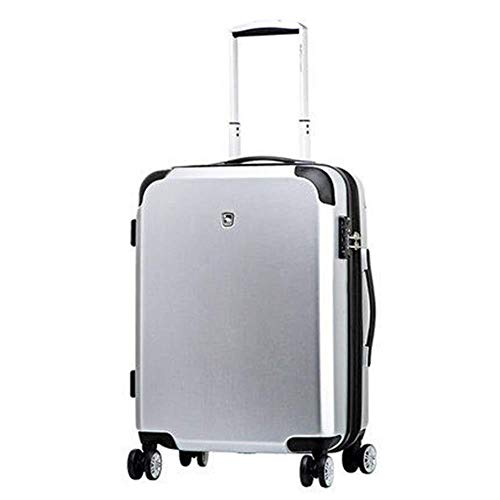 GQY Trolley - travel trolley suitcase with four hand baggage - lightweight fabrics ABS hard shell (Color : Silver, Size : 58 * 39 * 24.5cm)
