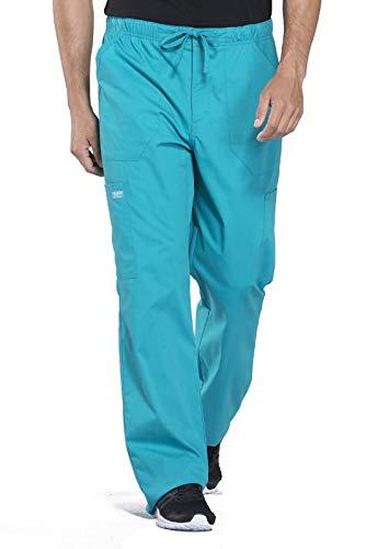 Cherokee Workwear Professionals Men's Tapered Leg Drawstring Cargo Scrub Pant, S, Teal Blue
