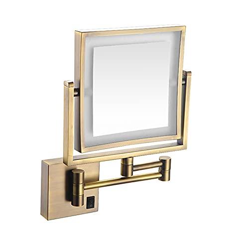 SXFYMWY Espejo de Maquillaje LED para baño con luz Cuadrada telescópica Plegable de un Solo Lado Montado en la Pared 3 aumentos 8 Pulgadas Espejo de Belleza, Bronce