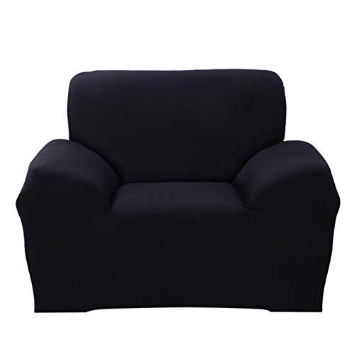 JIAN YA NA - Funda de sofá, extensible, de poliéster, para sofá de ángulo + 2 fundas de almohada, Negro , 1 Place: 90-140cm