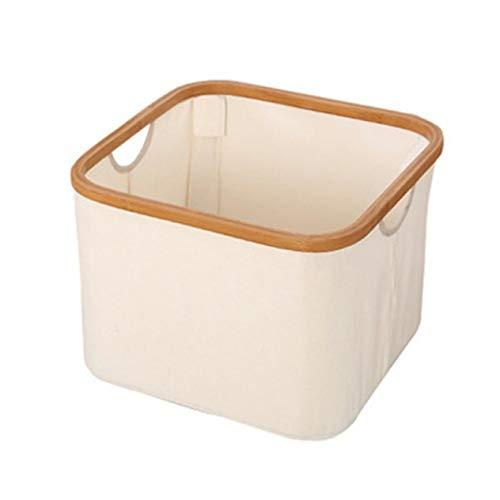 Canasta de almacenamiento de escritorio Artículos diversos Ropa interior Caja de almacenamiento de juguetes Organizador de libros cosméticos Contenedor de papelería Canasta de lavandería (Beige;) BCV