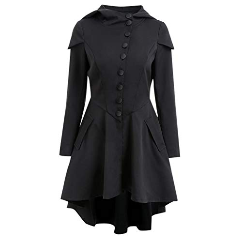 FRAUIT dames gothic capuchonjas bandage hooded mantel jurken trenchcoat lang parka met asymmetrische zoom jas windbreaker