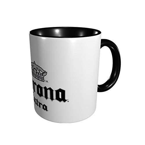 Corona Beer Funny Ceramic Mug Tea Cup, 11 Oz Coffee Mugs Suitable For Cappuccino, Tea, Cocoa, Cereal, Black/White Outside And Colorful Inside