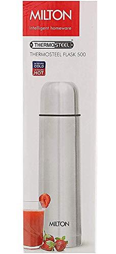 Milton Thermosteel Plain Lid Flask, 500 ml, Steel Plain