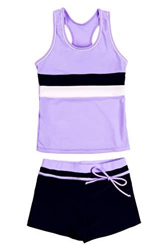 KABETY Little Girls Summer Two Piece Boyshort Fashion Tankini Swimsuit (Purple, 8-9=2XL)