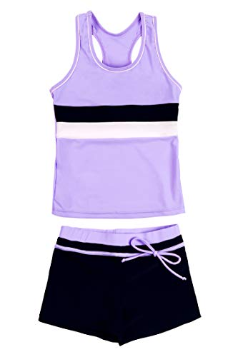 KABETY Little Girls Summer Two Piece Boyshort Fashion Tankini Swimsuit (Purple, 12-13=4XL)