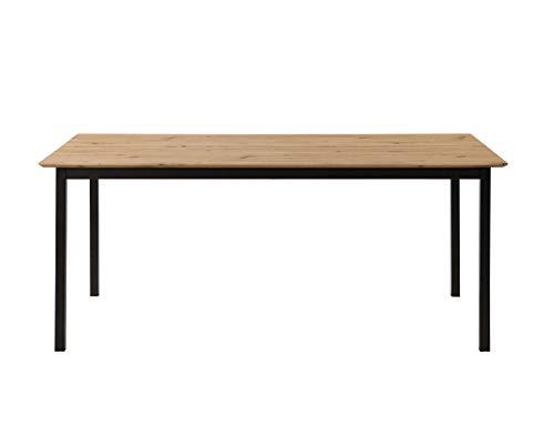 Inter Link Design Esszimmertisch Tisch im Industrial Style Metall Schwarz und MDF Eiche Artisan Nachbildung, 180 x 90 x 75 cm