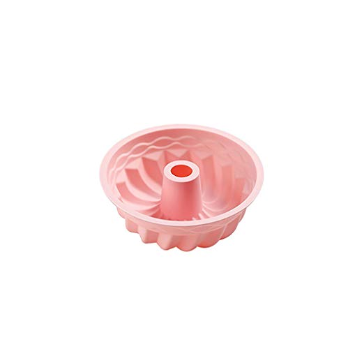 Silikonbackform Round Silicone Cake Mold Pan Cake Molds Gugelhupfform Backform Kuchenform Kuchen Soap Mold Kuchen Schimmel Backformen Brotbackformen 15 x 6H (cm) (Rosa)