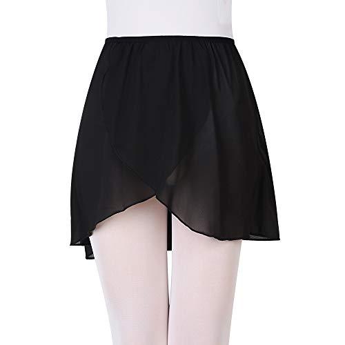 UBRAND Ballet Pull-On wrap Skirt Chiffon Dance Skirt with Elastic Waistband for Girls&Women Black