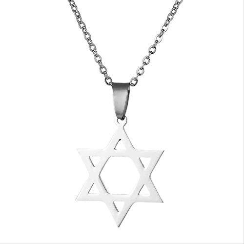 ZJJLWL Co.,ltd Collar Magen Estrella de David Colgante Collar para Hombres/Mujeres Acero Inoxidable joyería de Israel judía Regalo