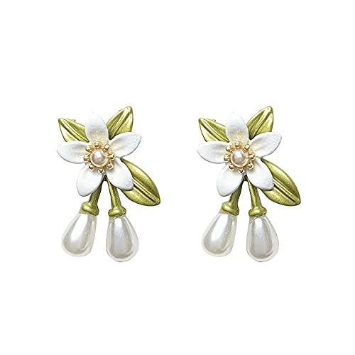 Niñas Moda Geométrica Elegante Delicado Clip De Oído Camellia Flor Perla Pendiente(Earring)