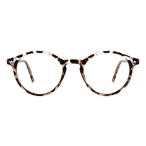 TIJN Vintage Round Frame Marcos para Gafas recetadas, 06white Leopard, M De Las Mujeres