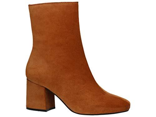 BULLBOXER Damen Stiefeletten, Frauen Klassische Stiefelette, halbstiefel reißverschluss Damen Frauen Lady Ladies feminin elegant,Cognac,38 EU / 5 UK