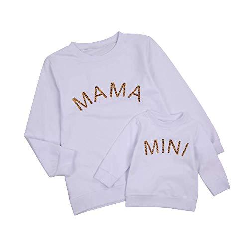 CHRONSTYLE Mutter Tochter Sweatshirt Pullover Partnerlook Basic Langarmshirt Sweatshirt Weihnachten Familie Pullover (Mama, S)