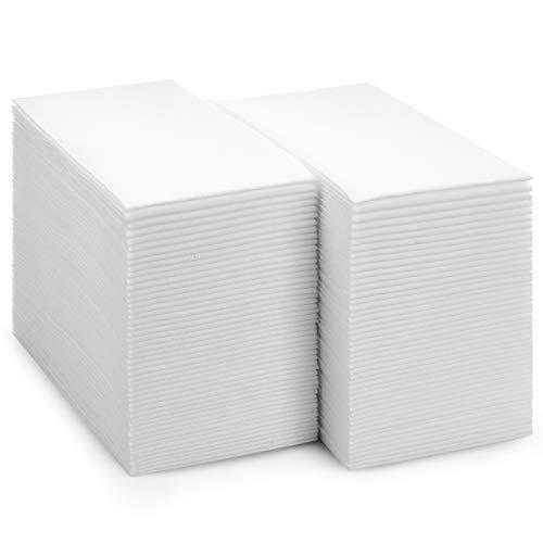 bloomingoods Einweg linen-feel Gästetuch–Deko Weiß Handtücher, Floral Papier Servietten, Papier, einfarbig, 12